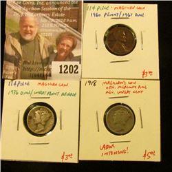 "1202 . (3) ""Magician Coins"" – 1918 Mercury Dime/Wheat Cent reverse,"