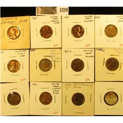 1220 . Group of 12 Counter-stamped Lincoln Memorial Cents, dates ra
