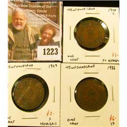 1223 . (3) Newfoundland Large Cents, 1920C F+ verdigris, 1929 F ver