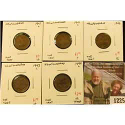 1225 . (5) Newfoundland Small Cents, 1941C VF, 1941C F, 1942 VG, 19