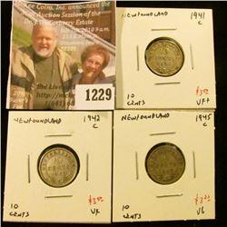 1229 . (3) Newfoundland 10 Cents, 1941C VF+, 1942C VF, 1945C VG, gr