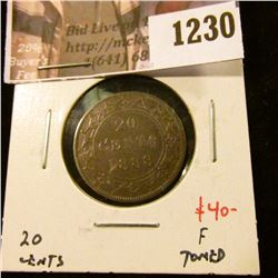 1230 . 1888 Newfoundland 20 Cents, F toned, value $40