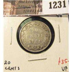 1231 . 1899 Large 99 Newfoundland 20 Cents, VF, value $35