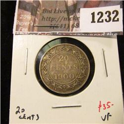 1232 . 1900 Newfoundland 20 Cents, VF, value $35