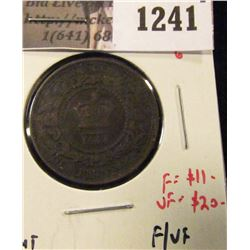 1241 . 1864 short 6 New Brunswick One Cent, F/VF, F value $11, VF v