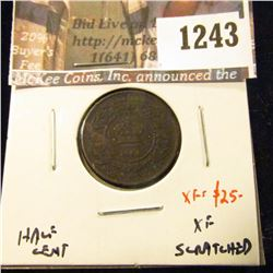 1243 . 1864 Nova Scotia Half Cent, XF scratched, XF value $25