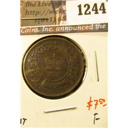 1244 . 1861 Nova Scotia One Cent, F, value $7+