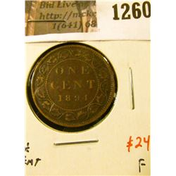 "1260 . 1894 Canada One Cent, ""Fine 4"", F, value $24"