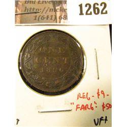 """1262 . 1896 Canada One Cent, VF+, regular value $9, """"Far 6"""" variety"""