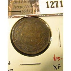 1271 . 1905 Canada One Cent, XF toned, value $15