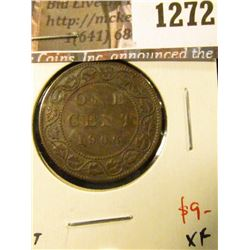 1272 . 1906 Canada One Cent, XF, value $9