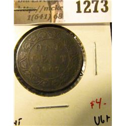 1273 . 1907 Canada One Cent, VG+, value $4