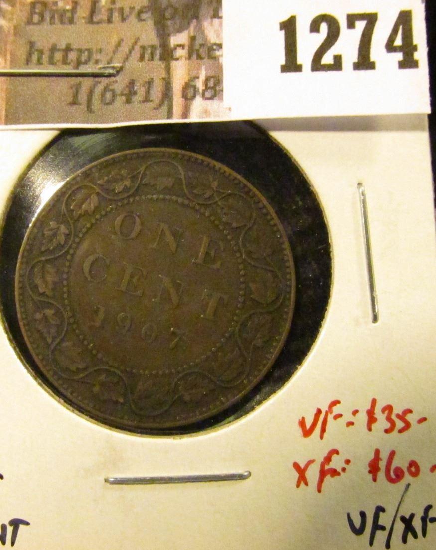 1274   1907H Canada One Cent, VF/XF, key date, VF value $35, XF va