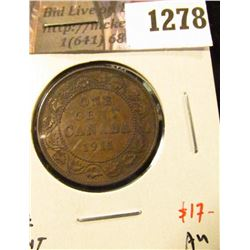 1278 . 1911 Canada One Cent, AU, value $17