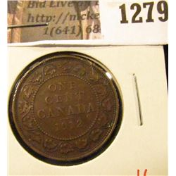 1279 . 1912 Canada One Cent, XF, value $6