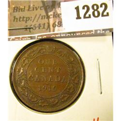 1282 . 1915 Canada One Cent, XF, value $6