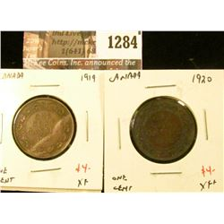 1284 . (2) Canada (Large) One Cents, 1919 XF, 1920 XF+, value for p
