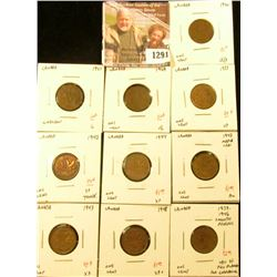 1291 . Group of 10 Canada (small One Cents, 1920 VG/F, 1921 G, 1929
