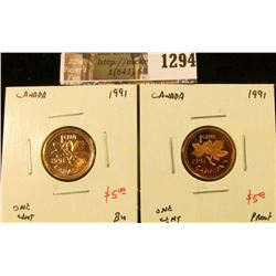 1294 . Pair of 1991 Canada One Cents, BU & Proof, value for pair $1