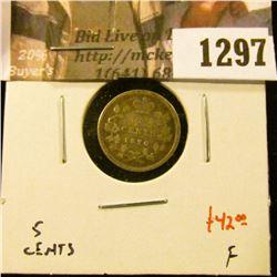 1297 . 1870 Canada Five Cent Silver, F, value $42