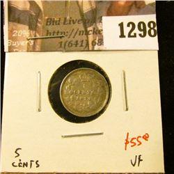 1298 . 1872H Canada Five Cent Silver, VF, value $55