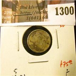 1300 . 1874 plain 4 small date Canada Five Cent Silver, F, value $7
