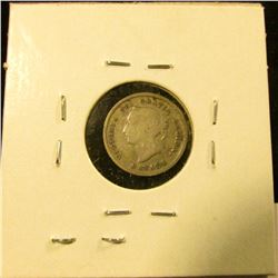 1301 . 1880H Canada Five Cent Silver, Obverse 3, VG, value $11