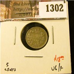1302 . 1881H Canada Five Cent Silver, VG/F, value $18