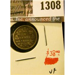1308 . 1888 Canada Five Cent Silver, VF, value $38