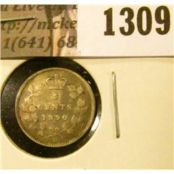 1309 . 1890H Canada Five Cent Silver, VG, value $13