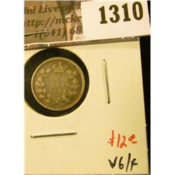 1310 . 1891 Canada Five Cent Silver, VG/F, value $12