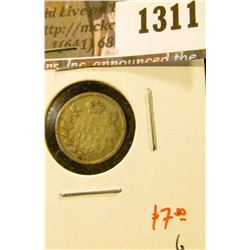 1311 . 1892 Canada Five Cent Silver, G, value $7