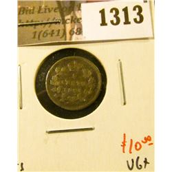 1313 . 1897 Canada Five Cent Silver, VG+, value $10