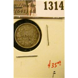 1314 . 1898 Canada Five Cent Silver, F, value $35