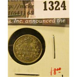 1324 . 1911 Canada Five Cent Silver, VF+, nice, value $8