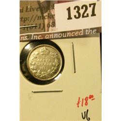 1327 . 1915 Canada Five Cent Silver, VG, value $18