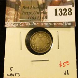 1328 . 1916 Canada Five Cent Silver, VG, value $5