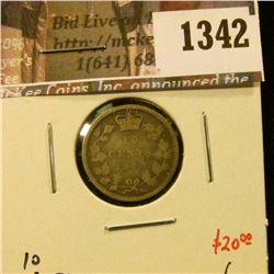 1342 . 1870 Canada Ten Cents, G, value $20
