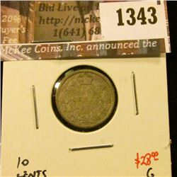 1343 . 1871 Canada Ten Cents, G, value $28