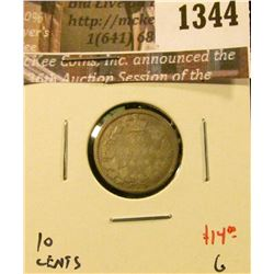 1344 . 1874H Canada Ten Cents, G, value $14