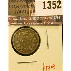 1352 . 1900 Canada Ten Cents, VG, value $17