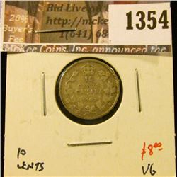 1354 . 1902H Canada Ten Cents, VG, value $8