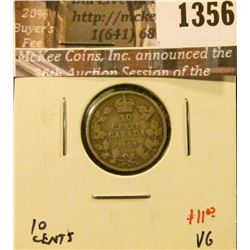 1356 . 1903H Canada Ten Cents, VG, value $11
