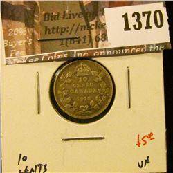 1370 . 1918 Canada Ten Cents, VF, value $5