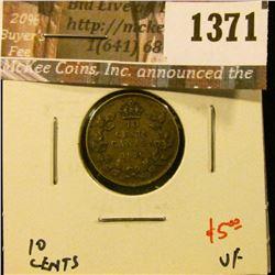 1371 . 1919 Canada Ten Cents, VF, value $5