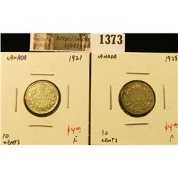 1373 . (2) Canada Ten Cents 1921 & 1928, both F, value for pair $8