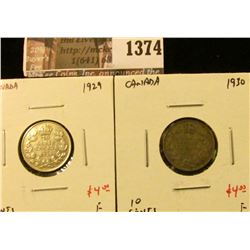 1374 . (2) Canada Ten Cents 1929 & 1930, both F, value for pair $8