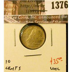 1376 . 1943 Canada Ten Cents, UNC, value $35