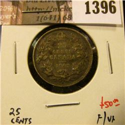 1396 . 1902H Canada 25 Cents, F/VF, value $50