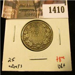 1410 . 1916 Canada 25 Cents, VG, value $8